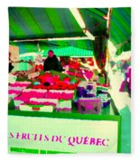 Sweet Ripe Strawberries Petits Fruits Du Quebec Direct From Farmers Market Food Art Carole Spandau  Fleece Blanket