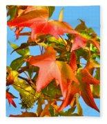 Sweetgum Leaves In Autumn Fleece Blanket