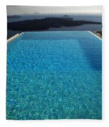 Swim Above The Santorini Island Fleece Blanket