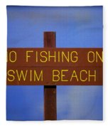 Swim Beach Sign II Fleece Blanket