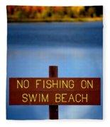 Swim Beach Sign Fleece Blanket