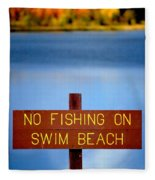 Swim Beach Sign L Fleece Blanket
