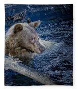 Black Bear On Blue Fleece Blanket