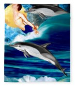 Swimming With Dolphins Fleece Blanket