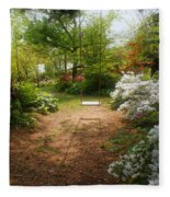 Swing In The Garden Fleece Blanket