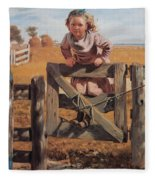 Swinging On A Gate Fleece Blanket