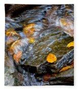 Swirling Stream Of Leaves  Fleece Blanket