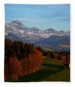 Swiss Alpine Scene Fleece Blanket
