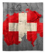 Switzerland Flag Country Outline Painted On Old Cracked Cement Fleece Blanket