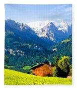 Switzerland Oil On Canvas Fleece Blanket