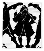 Sword Duel Silhouette  Fleece Blanket