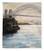 Sydney Ferry Wharves 1950's Fleece Blanket
