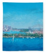 Sydney Harbour And The Opera House By Jan Matson Fleece Blanket