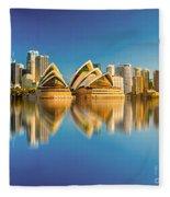 Sydney Skyline With Reflection Fleece Blanket