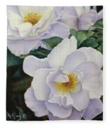 Sydneys Rose Oil Painting Fleece Blanket