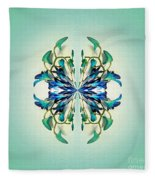 Symmetrical Orchid Art - Blues And Greens Fleece Blanket