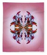 Symmetrical Orchid Art - Reds Fleece Blanket