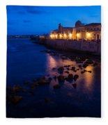 Syracuse Sicily Blue Hour - Ortygia Evening Mood Fleece Blanket
