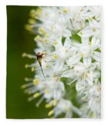 Syrphid Feeding On Alliium Blossom Fleece Blanket