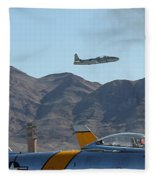 T-33 Shooting Star Flight Over Two Sabre's Fleece Blanket
