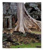 Ta Prohm Temple Ruins Fleece Blanket