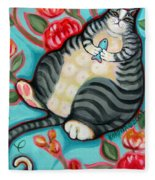 Tabby Cat On A Cushion Fleece Blanket