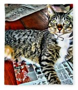 Tabby Cat On Newspaper - Catching Up On The News Fleece Blanket