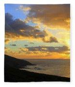 Table Mountain South Africa Sunset Fleece Blanket