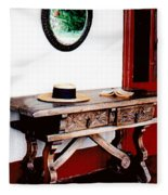 Table With Hat And Book Fleece Blanket
