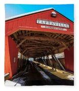Taftsville Covered Bridge In Vermont In Winter Fleece Blanket