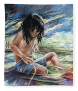 Tahitian Boy With Knife Fleece Blanket