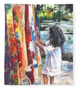 Tahitian Girl With Pareos Fleece Blanket