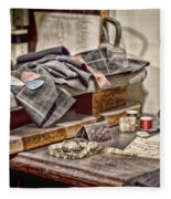 Tailors Work Bench Fleece Blanket