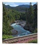 Train Tracks By The Cheakamus River Fleece Blanket