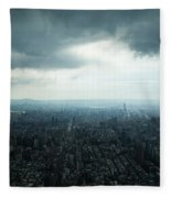 Taipei Under Heavy Clouds Fleece Blanket