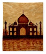 Taj Mahal Lovers Dream Original Coffee Painting Fleece Blanket