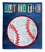 Take Me Out To The Ballgame License Plate Art Lettering Vintage Recycled Sign Fleece Blanket