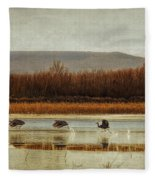 Takeoff Of The Cranes Fleece Blanket