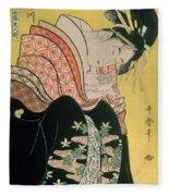 Takigawa From The Tea House Ogi Fleece Blanket