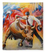 Taking On The Wall Street Bull Fleece Blanket
