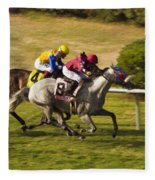 Taking Over - Del Mar Horse Race Fleece Blanket