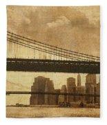 Tale Of Two Bridges Fleece Blanket