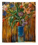 Tall Blue Vase Fleece Blanket