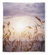 Tall Grass At Sunset Fleece Blanket