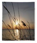 Tall Grass Sunset Fleece Blanket