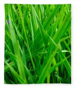 Tall Green Grass Fleece Blanket