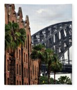 Tall Palms Before Beautiful Architecture Fleece Blanket