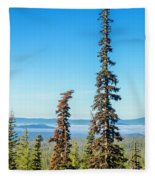 Tall Pine Trees And Hilly Background Fleece Blanket