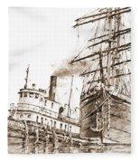 Tall Ship Assist Sepia Fleece Blanket