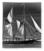 Tall Ship Bw Fleece Blanket
